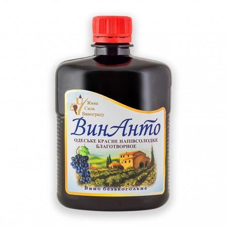 ВинАнто, 500 мл, ПЭТ-бутылка, безалкогольное, Одесское красное полусладкое